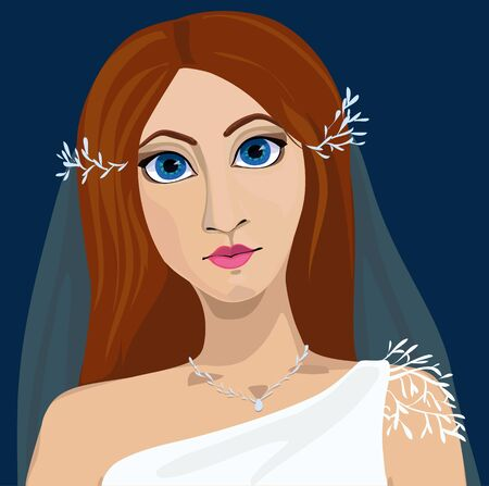 blue eyes: Portrait of young bride with blue eyes and long hair in wedding dress and veil. Illustration