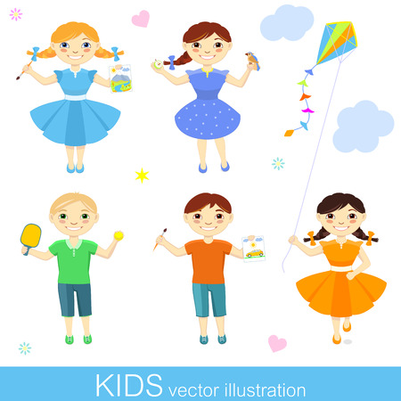 hobbies: illustration of happy kids with their hobbies on white background