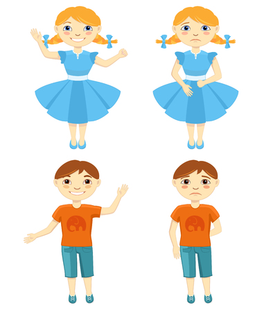 sad lonely girl: Illustration of Sad and Happy Kids
