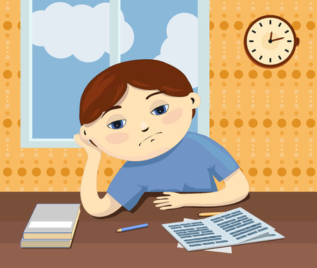 fantasize: An illustration of a sad kid sits by the table and dreams about something. A lazy pensive pupil with boring lessons.