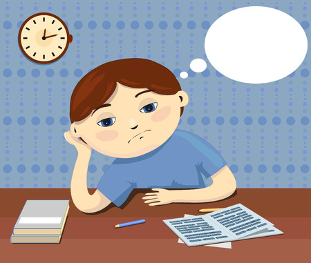 fantasize: A pensive boy sitting by the table does not want to do boring homework and thinks about something.