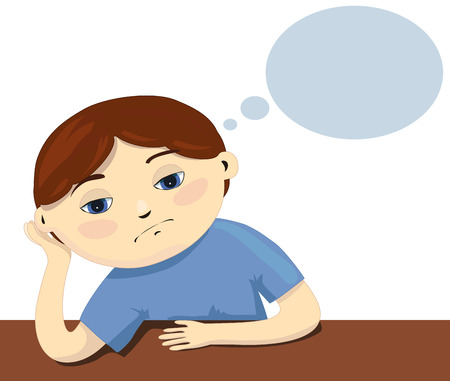 A sad child sitting by the table on white background. A pensive pupil and boring lessons. Illustration