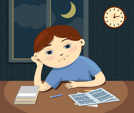night table: illustration of a sad boy sits by the table with boring lessons at night. Illustration