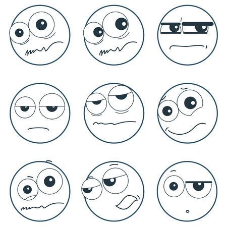 feeling exhausted: Set of smiley faces expressing different feelings, illustration on white background Illustration