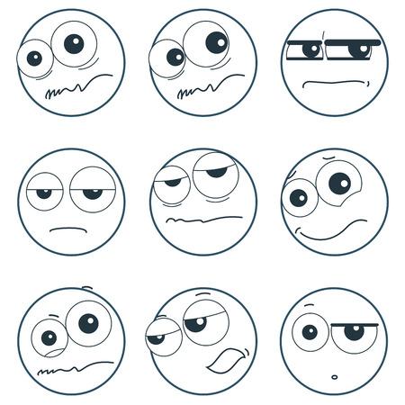 plaintive: Set of smiley faces expressing different feelings, illustration on white background Illustration