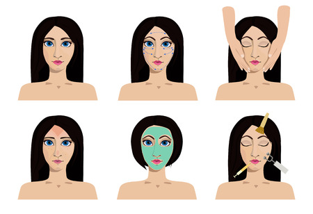 exfoliation: A set of cosmetology icons. Medical procedures for beauty and health care. Woman with problem and healthy skin on the face. Illustration