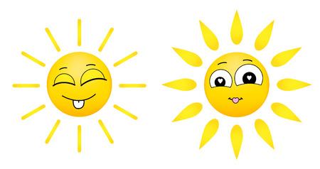 smiling sun: cartoon illustrations of funny smiling sun. Summer hot smiley icons. Illustration