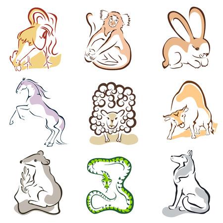 horse cock: set of 9 animals Illustration