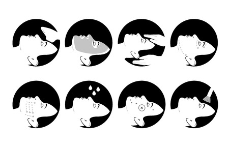 wetting: A set of cosmetology icons. Medical procedures for beauty and health of face skin.