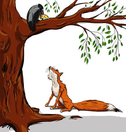fable: Illustration of crow with the cheese and the fox. Cartoon from a fable on white background