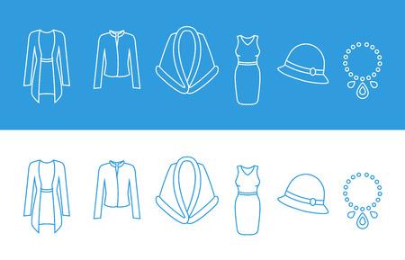 headgear: Set of Clothes Icons. Women Fashion wear. Dress, accessory, overcoat, headgear, jacket.