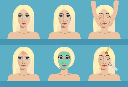 exfoliation: A set of cosmetology icons. Medical procedures for beauty and health care. Woman with problem and healthy skin on the face at a reception at the beautician.