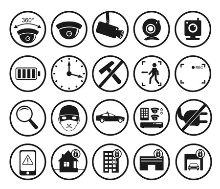 office theft: set of video surveillance and security systems icons. Illustration of black and white round protection signs.
