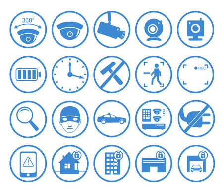 ip camera: set of video surveillance and security systems icons. Illustration of blue round protection pictograms on white background.