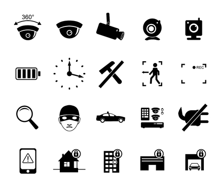 ip camera: set of video surveillance and security systems icons. Illustration of black and white protection pictograms.
