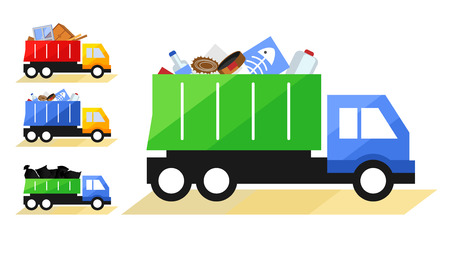 illustration of Garbage Truck. Isolated lorry with various kinds of trash on white background.