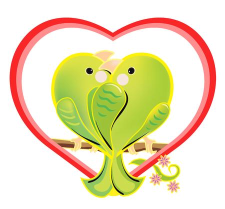 loros verdes: ilustración de un amorosas loros verdes. Los pájaros románticos amor de la historieta que se sienta en una rama. Brillante pares de los pájaros enamorados en una forma de corazón sobre fondo blanco. Vectores