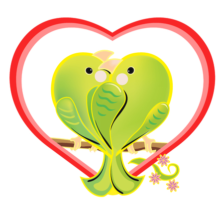illustration of a amorous green parrots. The romantic cartoon love birds sitting on a branch. Bright enamored birds couple in a heart shape on white background. Illustration