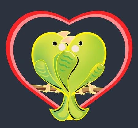 loros verdes: Ilustraci�n de una pareja el amor de loros verdes. Los periquitos rom�nticas de dibujos animados que se sienta en una rama. p�jaros ex�ticos enamorados en una forma de coraz�n sobre fondo oscuro. Vectores