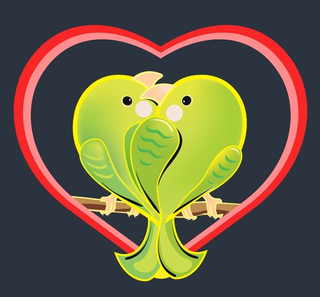 illustration of a love couple of green parrots. The romantic cartoon budgerigars sitting on a branch. Exotic enamored birds in a heart shape on dark background. Illustration