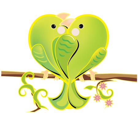 loros verdes: Ilustraci�n de una pareja el amor de loros verdes. Los periquitos rom�nticas de dibujos animados que se sienta en una rama. p�jaros enamorados brillantes sobre fondo blanco.