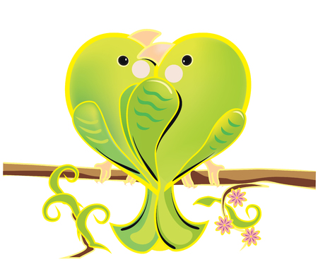 illustration of a love couple of green parrots. The romantic cartoon budgerigars sitting on a branch. Bright enamored birds on white background.