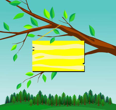 illustration of sign board for your text entry. Isolated tree branch with yellow name plate and view of green cone forest.