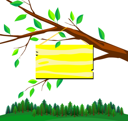 name plate: illustration of sign board for your text entry on white background. Isolated tree branch with yellow name plate and view of cone forest.