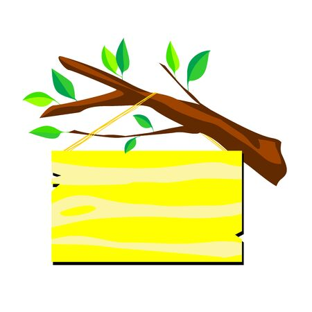 name plate on a branch of a tree. Isolated illustration of yellow sign board for text entry on white background.