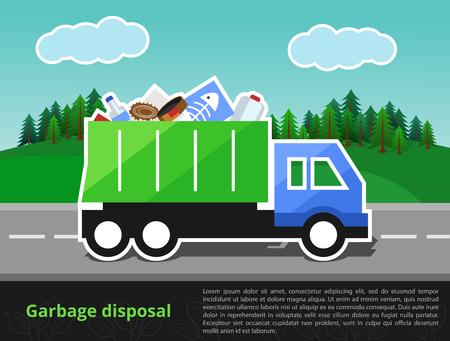 illustration de camion à ordures sur le chemin. thème de l'élimination de déchets ménagers avec l'espace pour la saisie de texte.