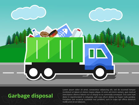 neatness: illustration of garbage truck on the way. Trash disposal theme with the space for text entry.