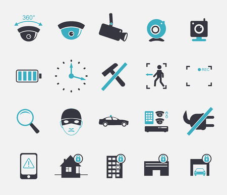 office theft: set of video surveillance and security systems icons. Illustration of black and white protection pictogram.