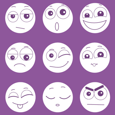 expressing: Set of smiley faces expressing different feelings, icons for chatting