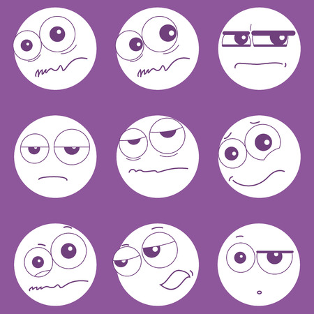 plaintive: Set of smiley faces expressing different feelings, icons for chatting