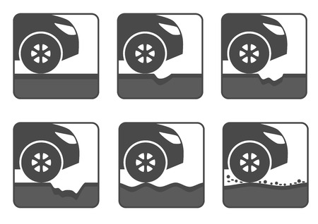 pit: icon set of bad road. Different dangers and troubles on the way: hole, crack, waves or pit on asphalt, stones. Isolated, black and white.