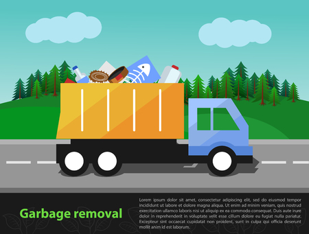 neatness: illustration of garbage truck on the way. Trash removal and eco theme with the space for text entry.