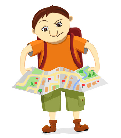 holidaymaker: Cartoon funny bewildered tourist with backpack looks at the map and tries to find the way. Isolated reflective traveler lost in voyage. Illustration