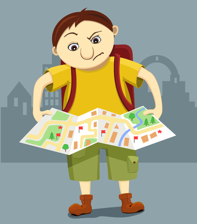 Cartoon funny bewildered tourist with backpack looks at the map and tries to find the way. Reflective traveler lost in city. Illustration