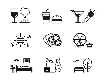 holiday shopping: set of recreation icons. Different types of holiday activities and entertainment and of tourist infrastructure: food, playing games, shopping, hiking, dancing in clubs, attractions, hotel. Illustration