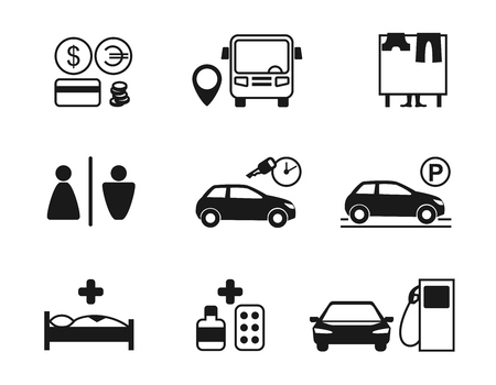 infirmary: set of recreation icons. Different types of holiday necessary items and places: bank, exchange office, cloakroom, restroom (WC), car rent, parking, hospital, pharmacy, gas station.