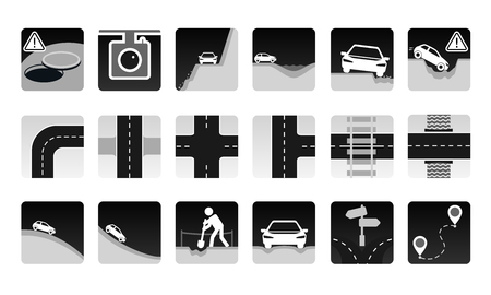 precipice: set of road icon. Different dangers and troubles on the way and other road items: pit, bad asphalt, rut, stones, open hatch, construction, avalanche. And several types of crossroads. Illustration