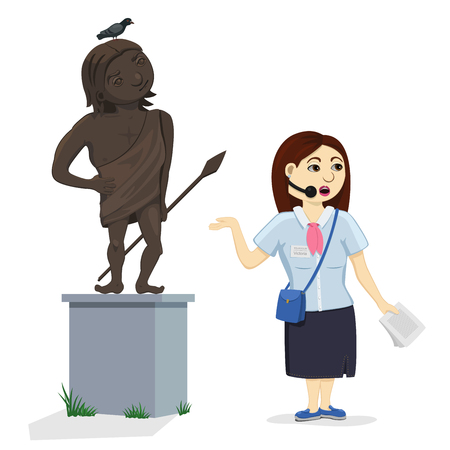 Museum guide telling about a work of art, historical statue. Isolated funny cartoon illustration: woman conducting a tour, sculpture of proud antique warrior and a pigeon sitting on his head. Illustration