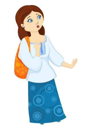 isolates illustration of frightened young woman. Cartoon emotional character of scared girl looking away on white background.