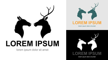 head profile: Artistic profile silhouette of two deers. A couple of wild animals: heads of buck with horns and doe.