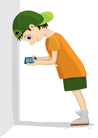 Computer addicted child leans against a wall and attentively looks at his tablet. Game and internet addiction. Illustration