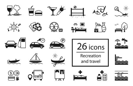 holiday shopping: set of recreation icons. Different types of holiday activities and entertainment and of tourist infrastructure: food, games, shopping, hiking, dancing, attractions, hotel, diving, driving.