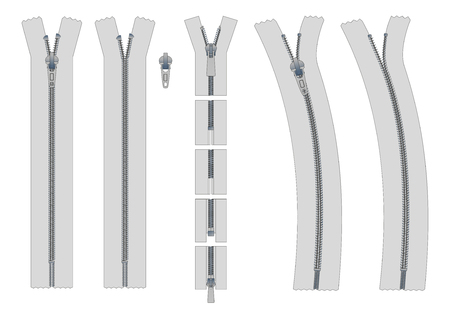 metal fastener: set of zippers and fastener. Schematic isolated illustration of different types of zippers in a closed and opened positions. Metal or plastic clasps. Clothes accessory.