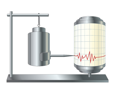 illustration of seismograph or seismometer. Instrument that measure motion of the ground, seismic waves generated by earthquakes, volcanic eruptions. Isolated recording device.