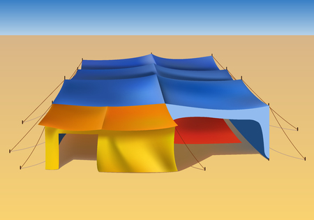 bedouin: illustration of big desert tent. African nomad canopy from the sun. Bedouin stall on sand.