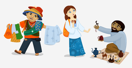 illustration of comic tourist girl and street dealers. Scared woman refuses to buy goods from insistent sellers. Funny characters in exotic journey. Illustration